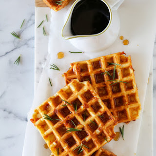 Savory Waffles with Rosemary, Ham and Dubliner Cheese.