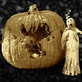 Grunge Pumpkin And Ghost by Robin Amaral - Public Holidays Halloween ( creepy, organic, sepia, grunge, rotten, decomposition, pumpkin, spooky, compost, ghost, decay, halloween )