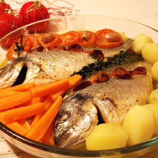 Roasted Bream with Vegetables.