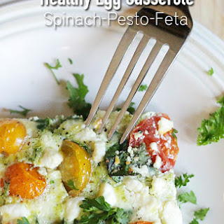 Spinach Pesto Feta Egg Casserole