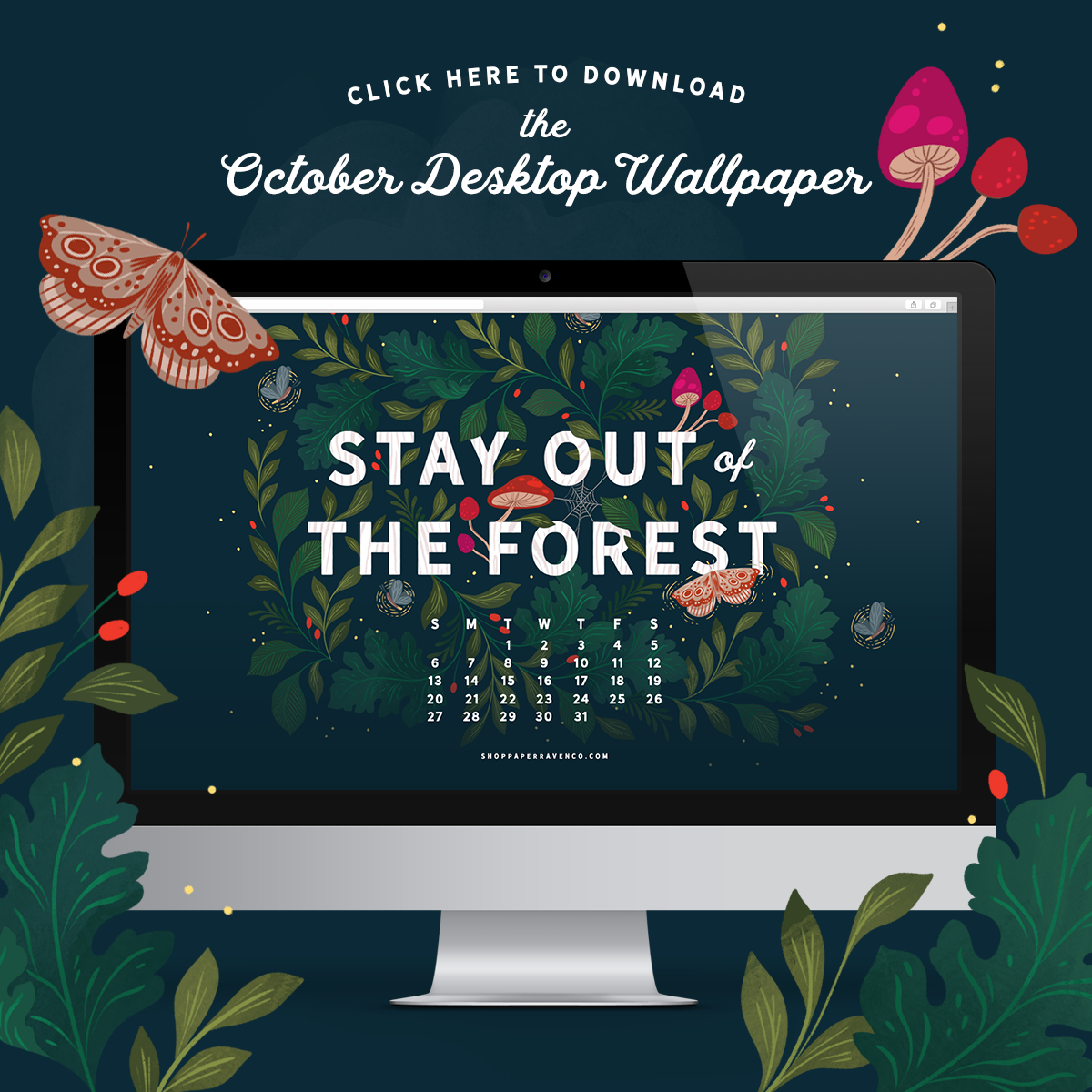 October 2019 Illustrated Desktop Wallpaper by Paper Raven Co. | www.ShopPaperRavenCo.com #dressyourtech #desktopwallpaper #desktopdownload