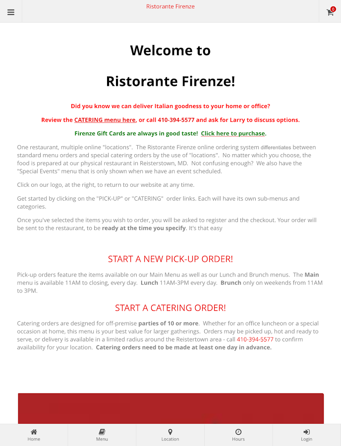 Ristorante Firenze Ordering- screenshot
