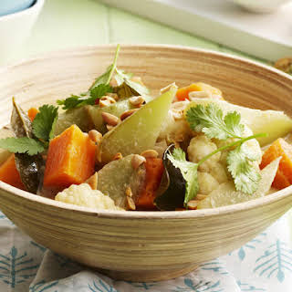 Vegetable Curry with Cucumber Salad.