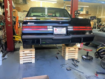 Buick on wooden stands