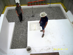 Photo: ... note cutout for ctr. post slab ...