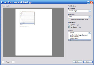 Onenote 2007 : Remove or Modify Footer when printing or