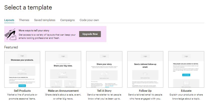 opções de templates, design e personalização de email de campanha padrão