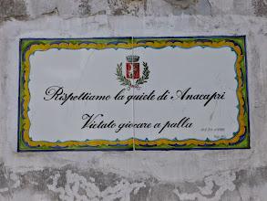 Photo: It.s5ITL122-141008Anacapri, céramique, 'respectez la tranquilité d'Anacapri'  (M_140)