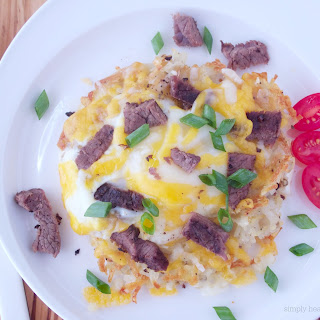 Individual Steak and Egg Breakfast Pizza's on a Hash Brown Crust.