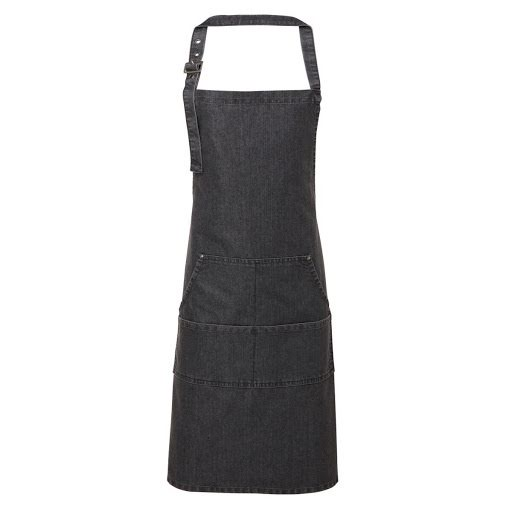 Jeans Stitched Bib Apron with Pocket