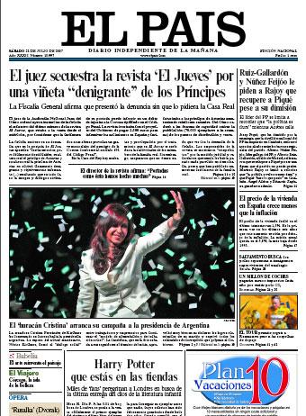El secuestro de El Jueves, portada en El País