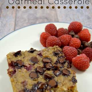 Raspberry Chocolate Chip Oatmeal Casserole.