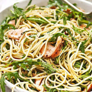 Spaghetti with Lemon, Trout and Arugula