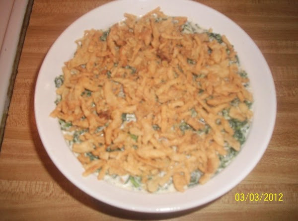 Pour spinach mixture into baking dish, sprinkle with fried onions and bake for 20...