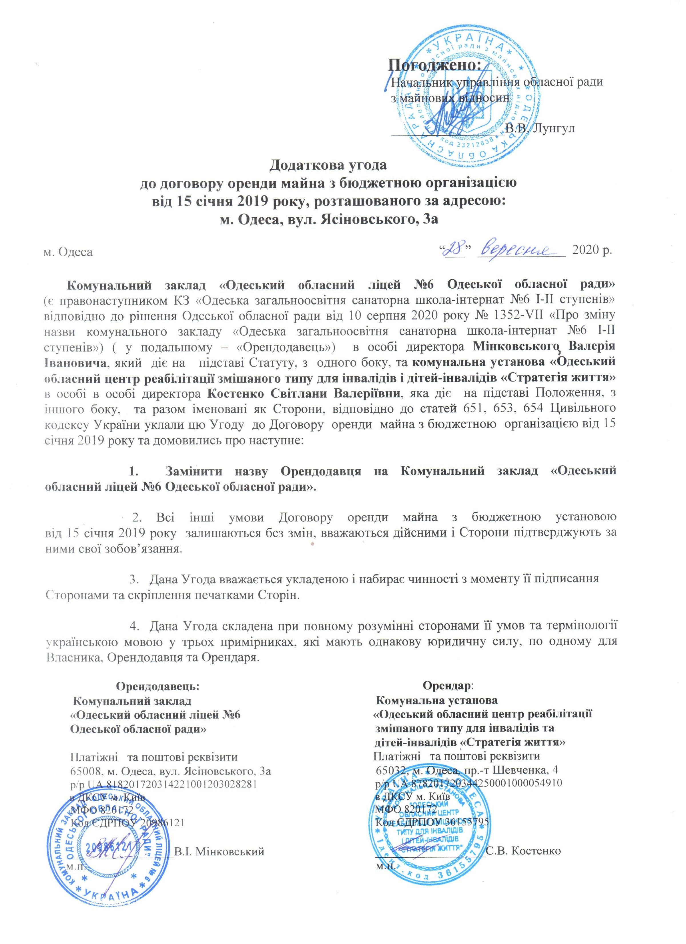 додаткова угода до договору оренди