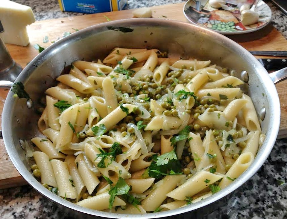 Still hot in the pan - Penne With Peas, Onions, and Pecorino Romano
