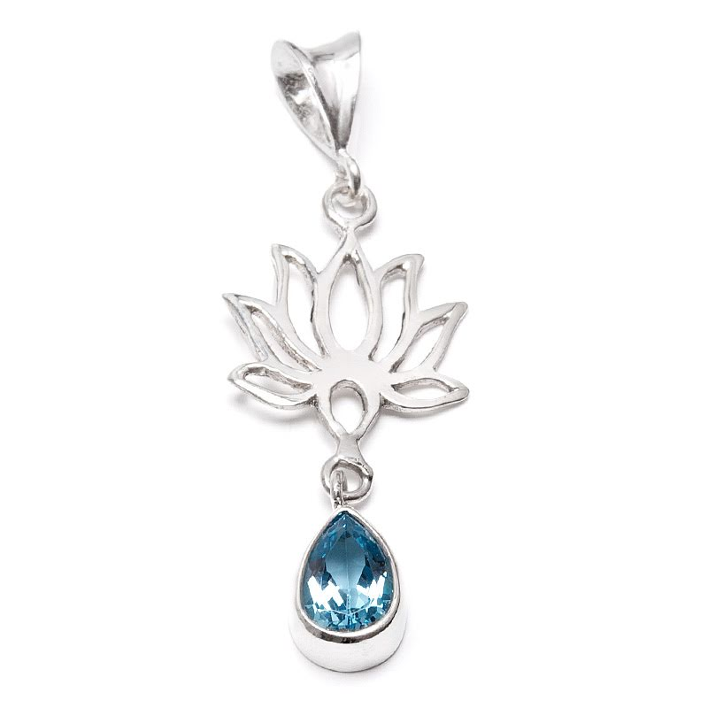 Blå topas, hänge i silver med lotusblomma