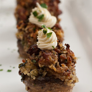Sausage Stuffed Mushrooms with Mascarpone.