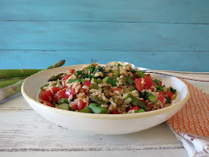 Photo: Asparagus and Basmati Rice - A healthy, vegetarian rice salad loaded with asparagus, tomatoes and bell pepper.  http://www.peanutbutterandpeppers.com/2013/04/17/asparagus-and-basmati-rice/  #basmatirice   #rice   #asparagus   #healthyrecipes   #vegetablesandrice   #springvegetables   #sidedishrecipes   #tomatos