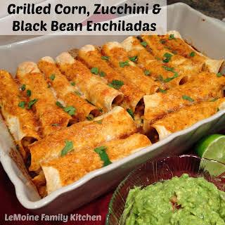 Grilled Corn, Zucchini & Black Bean Enchiladas.