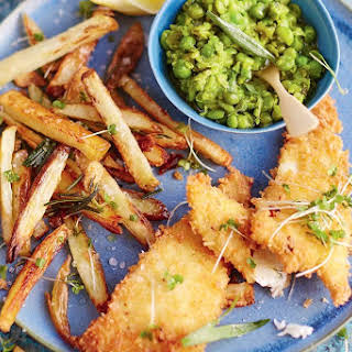 Jamie Oliver's fish and cheat's chips with tarragon mushy peas.