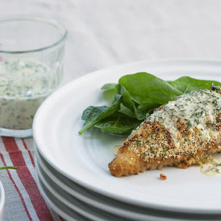 Parmesan Chicken with Creamy Basil Dressing.