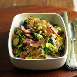 Shaved Brussels Sprouts with Frizzled Ham.