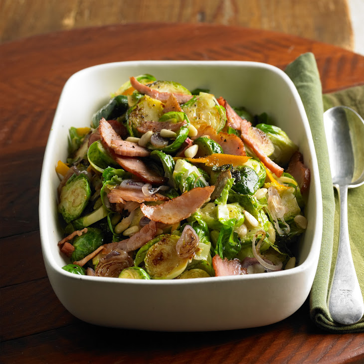 Shaved Brussels Sprouts with Frizzled Ham