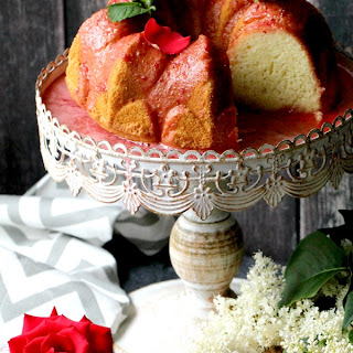 Rosewater Chiffon Cake with Fresh Strawberry Glaze