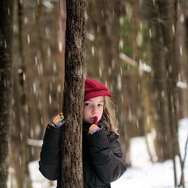Listen by Sandy Considine - Babies & Children Child Portraits ( girl, red cap, forest )
