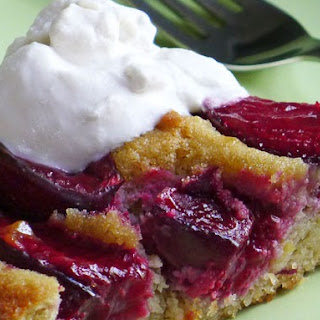 Plum Cake with Bourbon Whipped Cream (Gluten Free)