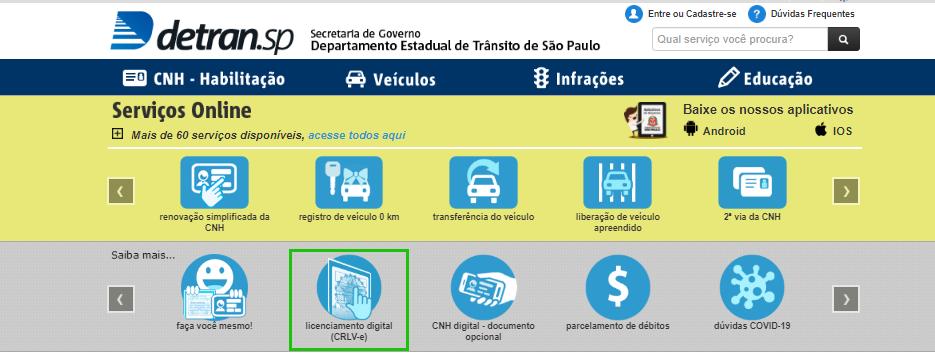 Clique na opção no licenciamento do veículo no site do Detran SP
