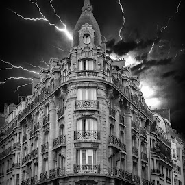Storm Over The Corner by T Sco - Black & White Buildings & Architecture ( lightening, cloud, sky, lightning, paris, storm, city, france, clouds, europe, french )