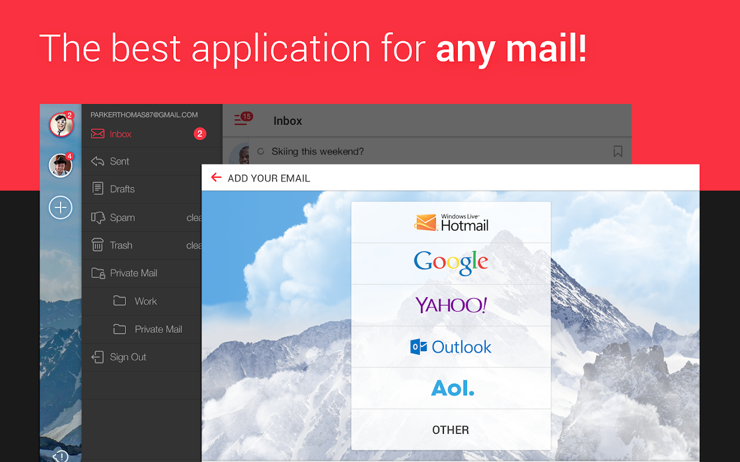 myMail – Email for Hotmail, Gmail and Outlook Mail- screenshot