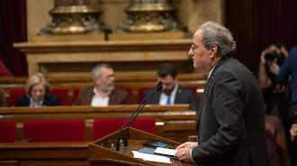 El president de la Generalitat, Quim Torra, en el Parlament este lunes.