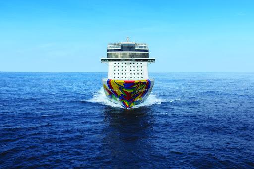EncoreAtSea_straight_on.jpeg -  The 4,000-passenger Norwegian Encore sails to the Caribbean and Alaska.