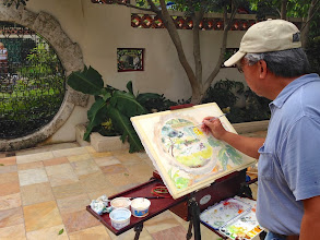 Photo: Manny J. /Painting plein air at the Society of the Four Arts 12-12-13