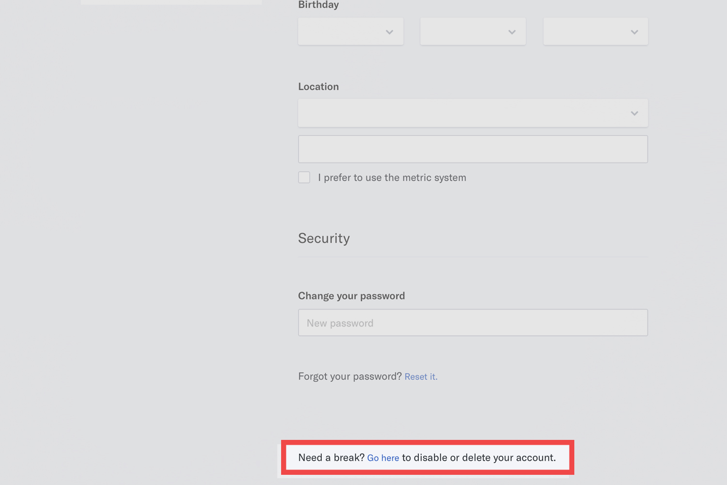 OkCupid-Delete Account from Website. Step 4: Scroll Down and Click Go Here to Disable Account