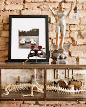 """Photo: A typically eclectic tableau: Diane Arbus' 1968 A Family on the Lawn One Sunday in Westchester, N.Y.; Ron Pippin's Alligator Laboratory Museum Box; and one of Crow's many antique wooden saint figurines. """"I'm into funky religious art,"""" she says."""