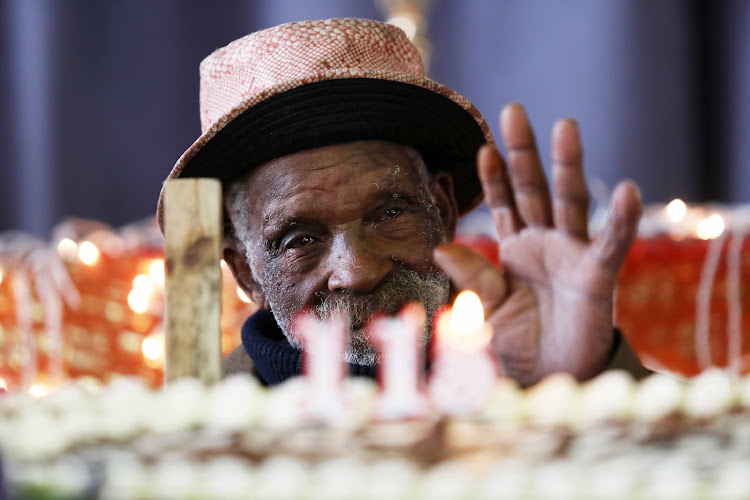Fredie Blom, from Delft, near Cape Town, turns 116 years old on Friday. Here, he celebrates his birthday in 2019.