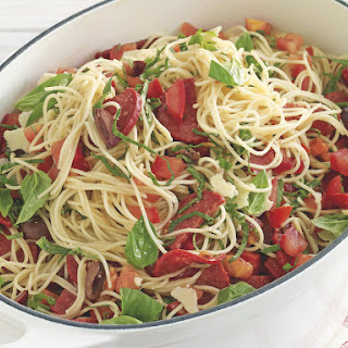 Angel Hair Pasta with Fresh Tomato, Basil and Pepperoni.
