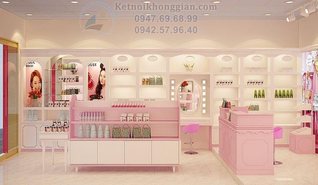thiết kế cửa hàng mỹ phẩm đẹp mắt, thiết kế shop mỹ phẩm Hồng Nhung