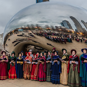 Carolers at the Bean by Lynn Kirchhoff - Public Holidays Christmas ( carolers, singing, christmas, chicago, the bean, cloud gate,  )