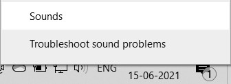 The Sounds option in the Sound icon context menu