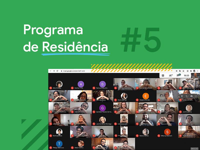 Conheça a turma #5 do Programa de Residência. Foto de uma vídeo conferência da turma de startups participantes do programa.