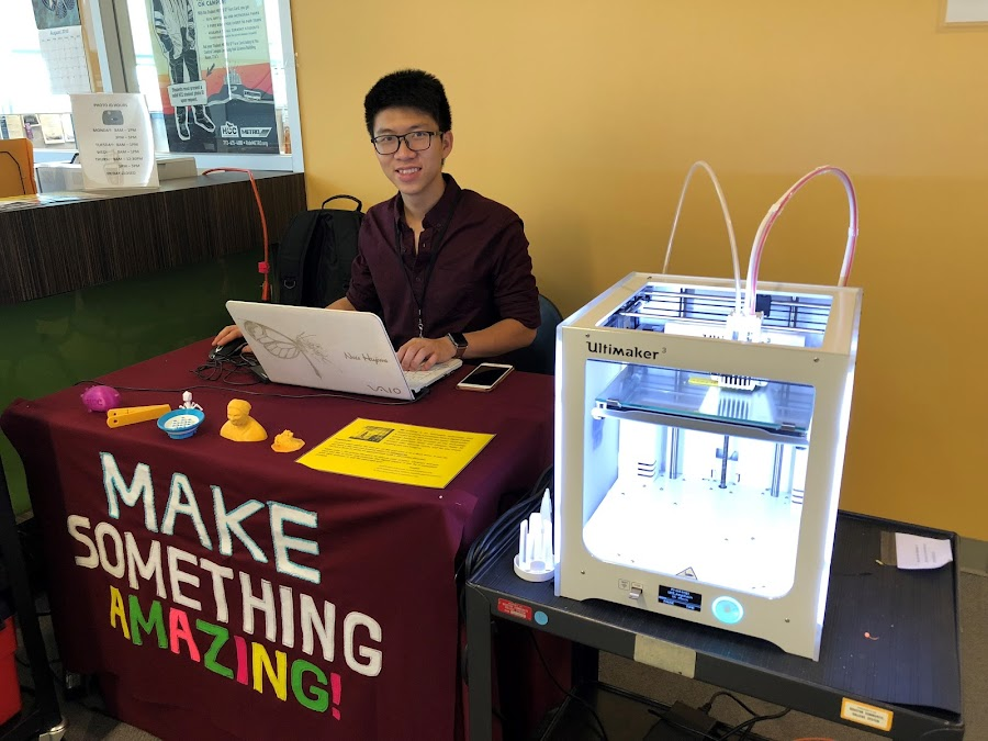 The library MakerSpace showcasing the Ultimaker 3D printer.