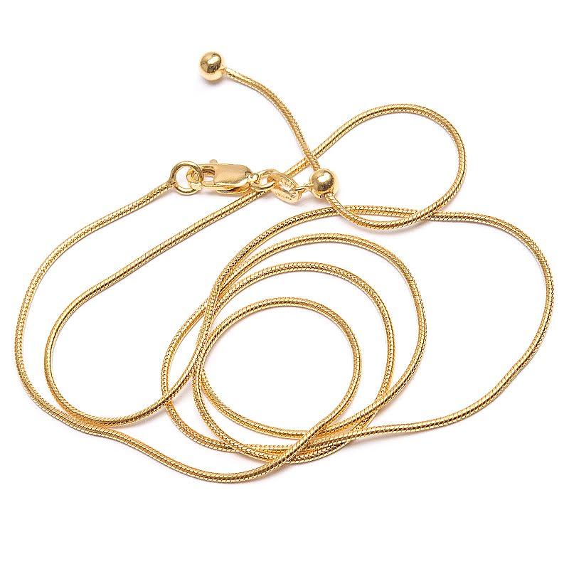 Guldpläterad kedja, ormlänk 50 & 60 cm
