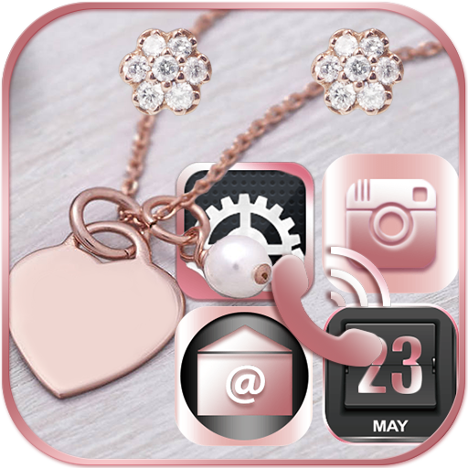 Pink Rose Gold Theme Rose gold Diamond file APK Free for PC, smart TV Download
