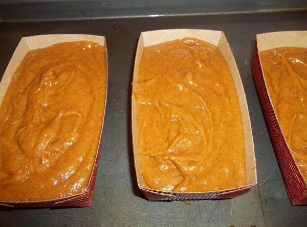 Pour the batter into the loaf pan and tap the pan on the counter...