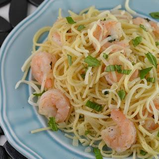 Lemony Basil Shrimp Pasta.